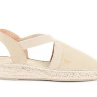 Cadaques Canvas Espadrille Wedges - Beige