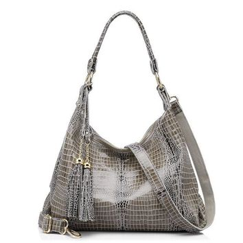 Women's Genuine Leather Croc Patterned Should Bag
