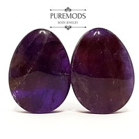 "Amethyst Stone Teardrop Plugs 0G (8mm) - 1"" (25mm)"