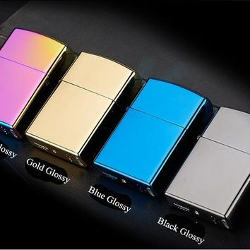 Cigarette lighter Smoking Accessories Electric Arc Windproof Rechargeable Flameless No Gas Metal Pulse USB Lighters Multicolor