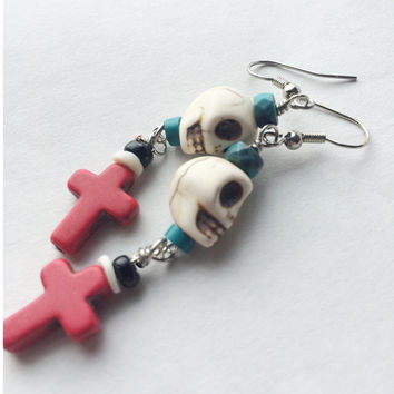 Pierced earrings with dia de los Muertos design Southwest red turquoise