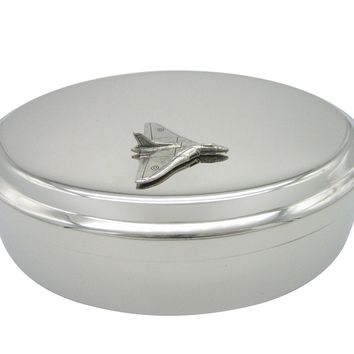 Silver Toned Textured Vulcan Plane Pendant Oval Trinket Jewelry Box