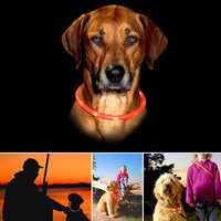 Dog Collar, Itery Led USB Rechargeable Pet Safety Collar Waterproof Light up Adjustable Flashing Collar