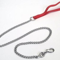 Coastal Fine Titan Chain Dog Leash Nylon Handle 4' Red