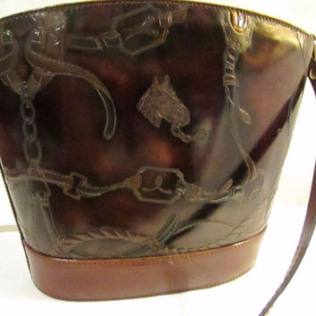 Vintage Equestrian Handmade Leather Crossover Purse Handbag Mateus Made in Italy