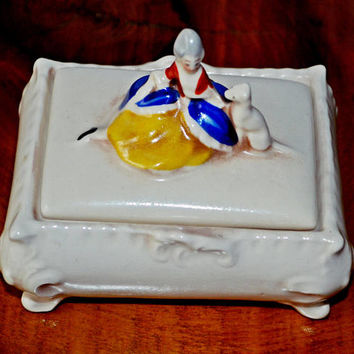 Vintage Antique Trinket Box, Porcelain Jewelry Box, Lady in Period Dress, Jewelry Box
