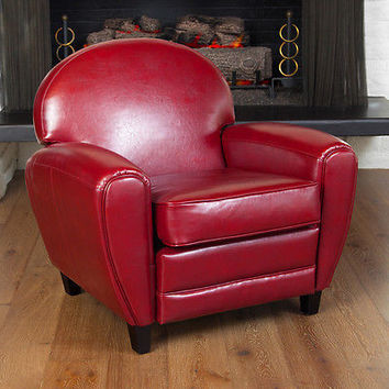 Unique Retro Modern Vintage Oversize Red Lounge Bonded Leather A