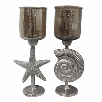 2Piece Hammered Glass Candle Holder On Shell & Starfish Stand, EN14240