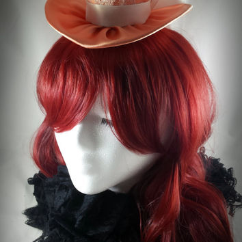 Clearance - Peach Satin Mad Hatter Wedding Mini Top Hat