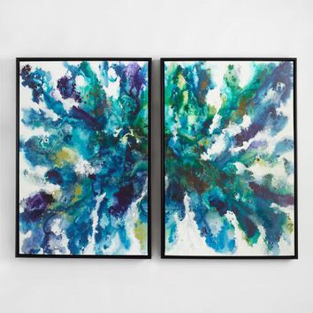 Abstract Peacock by Liz Jardine Set of 2