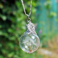 Handwork DIY Dandelion Tiny Glass Orb Eco Friendly Pendant Necklace + Gift Box
