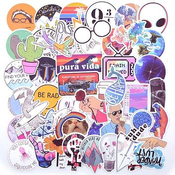 20 Style Vsco Stickers Things 50PCS Pack Cool Pink Girl Stickers For On The Laptop Fridge Phone Skateboard Suitcase Sticker