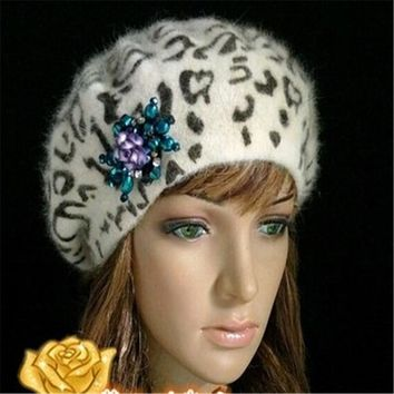 Dome Leopard Bailey Hats Winter Rabbit  Women Hats Caps Berets Warm