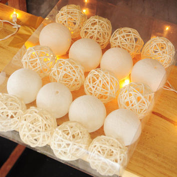 String Lights Cotton Ball Hanging for Home Decor Wedding Bedroom Fairy Patio Indoor/Outdoor 20 Cotton Ball & Rattan White String Fairy Light