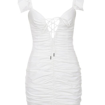 Clothing : Bodycon Dresses : 'Kara' White Ruched Cotton Ruffle Dress