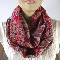Red Floral Pashmina Scarf, Infinity Scarf, Loop Scarf, Floral Circle Scarf, Infinity Scarf, Beige Handmade Soft and Chic Pashmina