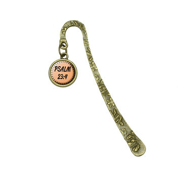 Bible Verse Psalm 23-4 Brass Bookmark