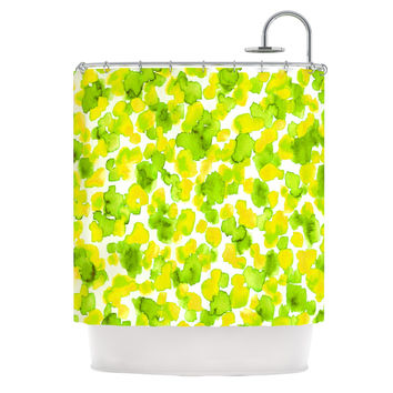 "Ebi Emporium ""Giraffe Spots - Lemon Lime"" Green Yellow Shower Curtain"