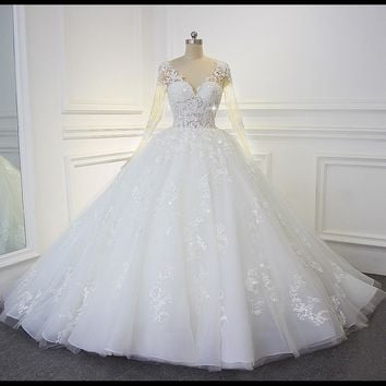 Luxury Shinny Beading Bling Bling Wedding Dress Actual Photos Sexy Transparent Bodice Bridal Dress