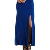 Blue High-Waisted Front Slit Maxi Skirt by Charlotte Russe