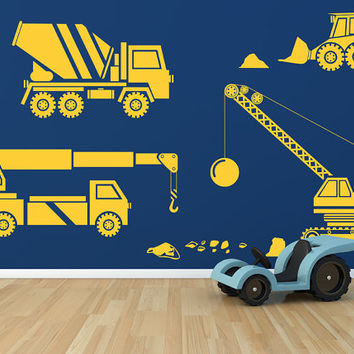 Kids Big Rig Construction Vehicles Set 2 Removable Vinyl Wall Art Decor childrens room wall sticker tonka crane cement truck toys