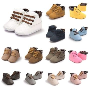 0-18M Newborn Baby Boys Girls Crib Shoes Toddler Soft Sole Lace-Up Leather Boots