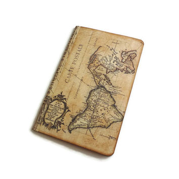Map Travel Journal, World Map Journal, Travel Notebook,  Atlas Journal, Geography Journal, Pocket Moleskine, New World / Old World Journal