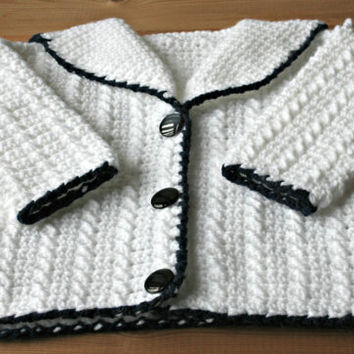 Handmade Hand crocheted baby jacket coat cardigan sweater sailors collar white navy blue children kids baby clothes baby gifts 3 to 9 months