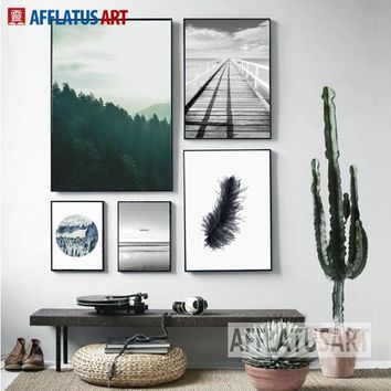 AFFLATUS Nordic Minimalism Landscape Canvas Painting For Living Room  Wall Pictures Canvas Art Print Poster Home Decor No Framed