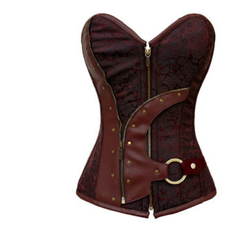 bustiers & corsets corselet Women 2014 Brown Brocade Steampunk Corset Top With G-string sexy lingerie set