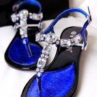 Big Rhinestone T Shape Flat Sandals for Women TFD844
