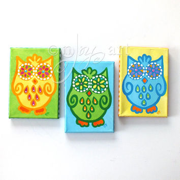 Whimsical Wall Art, 3 FUNKY OWLS No.2, set 3 5x7 canvas paintings, owl themed art decor