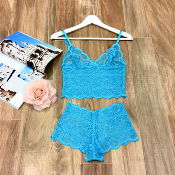 Blue Lace Lingerie Set / Long Line Bralette and Panties by Silk Brides/Honeymoon Lingerie