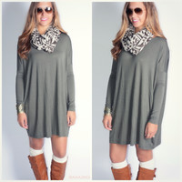 Heaven's Bliss Army Green Quarter Sleeve Solid Dress