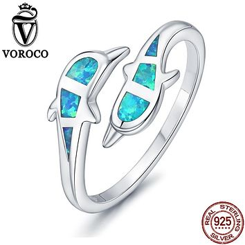 VOROCO Pure 925 Sterling Silver Cute Dolphin Double Blue Opal Open Cuff Adjustable Ring For Women Party Vintage Jewelry VSR106