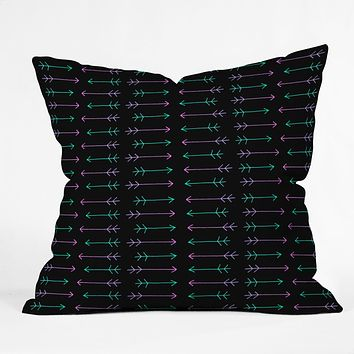 Leah Flores Neon Warrior Throw Pillow