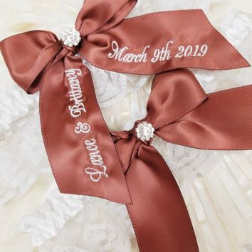 Brown Personalized Bridal Garter