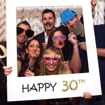 Rainlemon(TM) Papercard Glitter Gold Happy 30th Photo Booth Props Frame