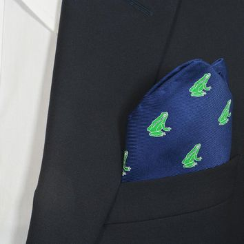 Frog Pocket Square - Navy