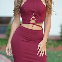 Burgundy Strappy Cross Open Belly Bodycon Dress