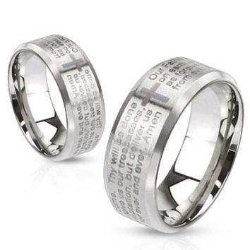 Lord's Prayer Laser Etched Over Brushed Finished Beveled Edge Stainless Steel Ring