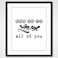 motivational wall decor, black and white art, inspirational print, typographic print, romantic couple bedroom home decor, typography poster