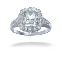 Vir Jewels Sterling Silver Green Amethyst Ring (0.90 CT)