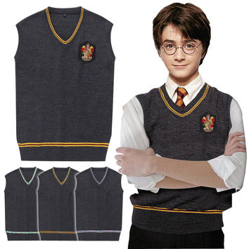 High Quality Badge Adult Harry Sweater Vest Slytherin Gryffindor Ravenclaw Cosplay Costume Man Waistcoat Plus Size XXL