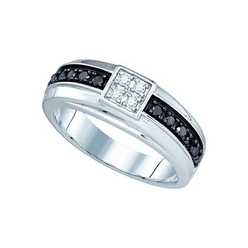 10k White Gold Mens Black Colored Diamond Wedding Anniversary Band Ring 3/8 Cttw