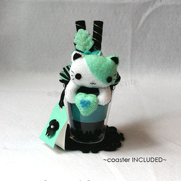 Surreal Mint Cat Parfait, Kawaii Plushie, Cat Plush, Heart Plush, Gothic Cat, Pastel Goth Accessories, Cute Desk Decoration, Kawaii Neko