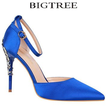 BIGTREE 2018 New Summer Shoes Woman Women's D'Orsay & Two-Piece High Heels Silk Yellow Stilettos Carved Metal Heel Party Shoes