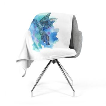 "Sonal Nathwani ""Hummingbird"" Blue Watercolor Fleece Throw Blanket"