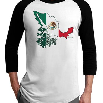 Mexican Roots - Mexico Outline Mexican Flag Adult Raglan Shirt by TooLoud