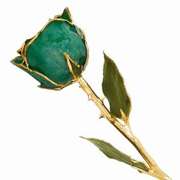 Lacquer Dipped Gold Trim Green Rose